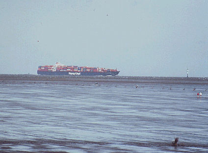 Less could be more: container ship heading for Hamburg, Germany, September 2009