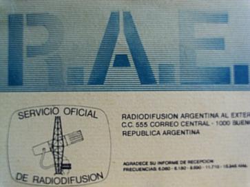 Radio Argentina al Exterior (RAE) QSL card, 1980s