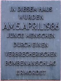 La Belle, Roxy Palast memorial plaque