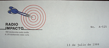 Radio Impacto QSL Letter, 1988