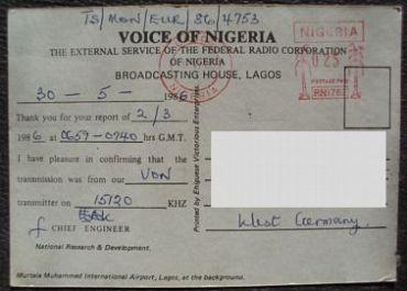 Voice of Nigeria QSL card, 1986