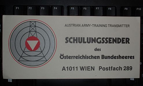 Austrian Army training transmitter QSL, 1986