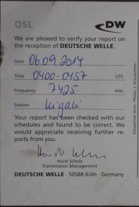 Deutsche Welle QSL card confirming reception of Kigali relay station, on September 6, 2014, at 04:00 UTC.