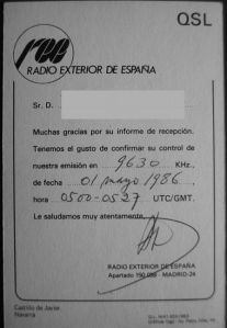 Spanish foreign radio QSL card, 1986