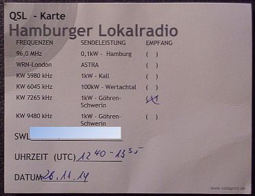 Hamburger Lokalradio QSL card, November 2014