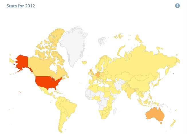 map showing traffic intensity on this blog