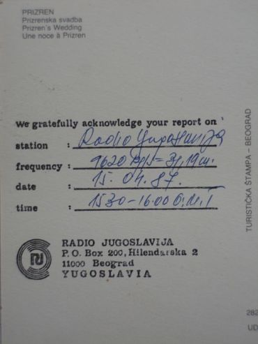 A Radio Jugoslavija QSL card from the 1980s
