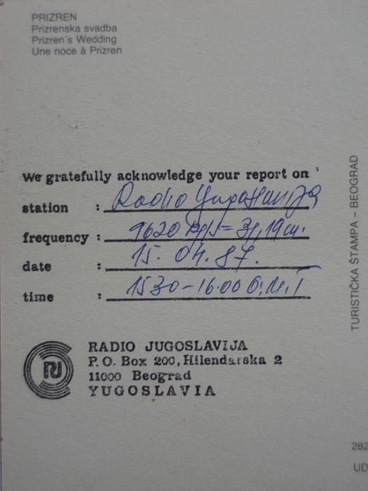 A Radio Jugoslavija QSL card from the 1980s