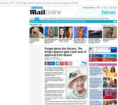 """Auch die Königin spielte mit: der Film habe sie berührt, ließ sie wissen. Caption: """"Daily Mail"""" am 04.02.11."""