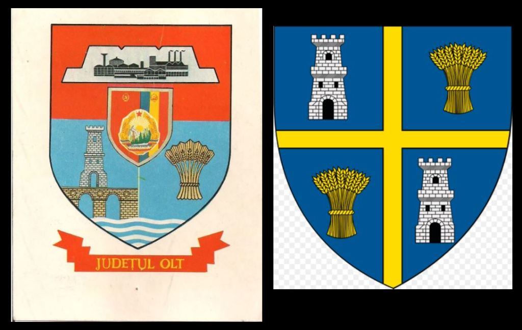 Olt County's coat of arms, 1985 and post-1989