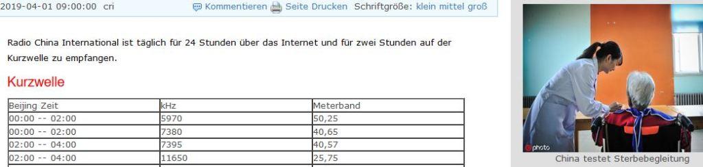 CRI German, April 1 schedule